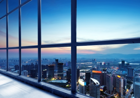 huang pu: Out of the window of the big city at night Editorial