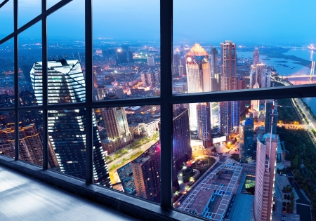 huang: Out of the window of the big city at night Stock Photo
