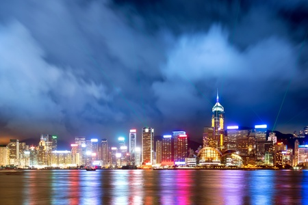 hk: Hong Kong night view of Victoria Harbor, Hong Kong Island business district