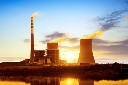 At dusk, the thermal power plants photo