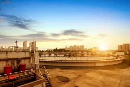 waste water: Modern urban wastewater treatment plant