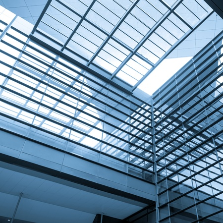 glass ceiling: Transparent glass ceiling, modern architectural interior. Stock Photo