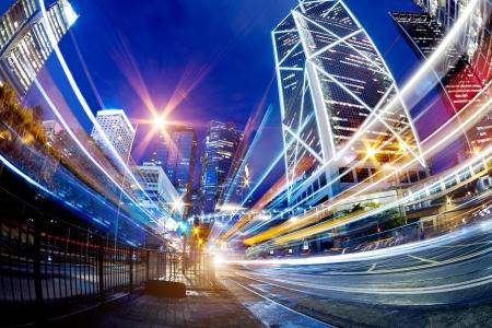 Moderne Stadt bei Nacht, Hong Kong, China.