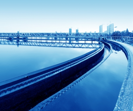 water sanitation: Modern urban wastewater treatment plant.