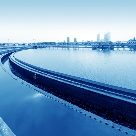 water purification plant: Modern urban wastewater treatment plant.