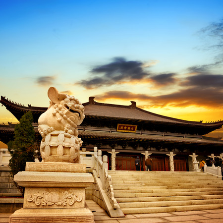 summer palace: Chinese temple sunset