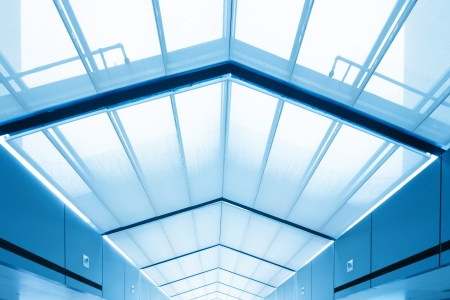 glass ceiling: Transparent glass ceiling, modern architectural interior