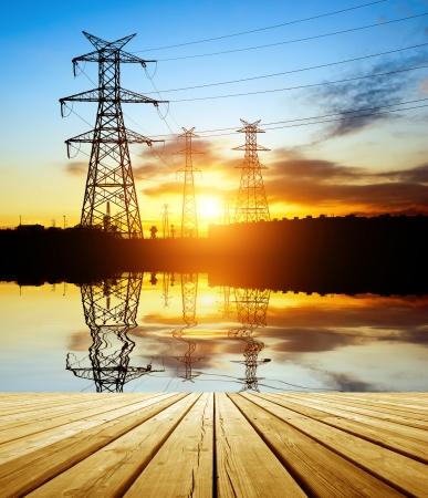 electricity pylon: high voltage post.High-voltage tower sky.