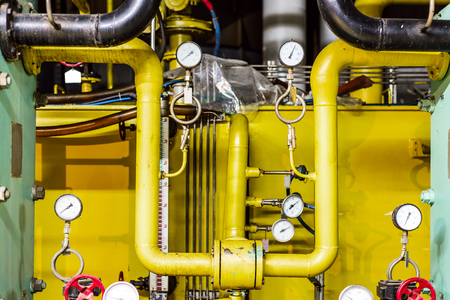commercial equipment: Thermal power plant piping and instrumentation, modern factory machinery.