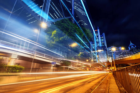 tunnel view: Modern city at night, Hong Kong, China