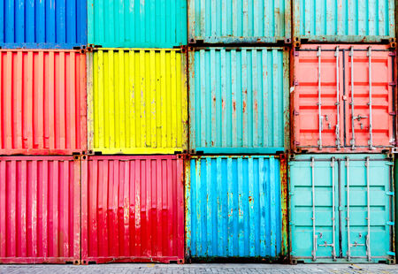 intermodal: Stack of Cargo Containers at the docks