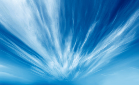 cirrus: Dramatic, radiation explosion shaped clouds.