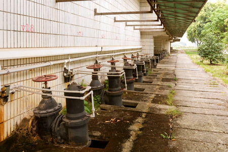 sewage treatment plant: Water pipe in a sewage treatment plant Stock Photo