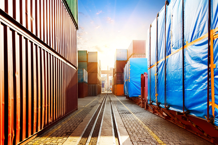 shipping container: When the container terminal at dusk Stock Photo