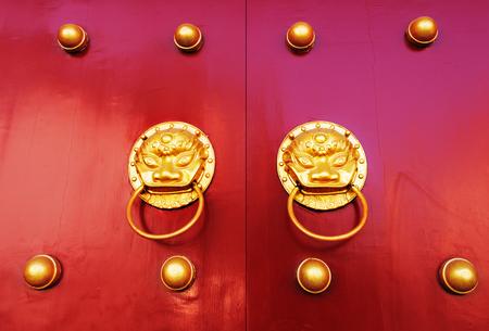 red door: Chinese red gate doors with lion door knob, Forbidden City , Beijing
