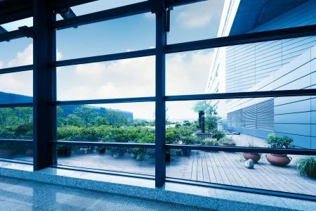 view window: Office windows, modern building interior.
