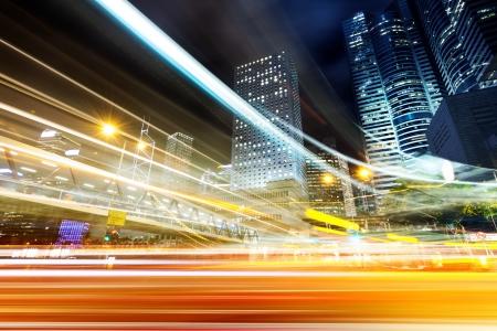night traffic: Modern city at night, Hong Kong, China. Stock Photo