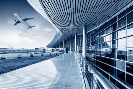 he scene of T3 airport building in beijing china.