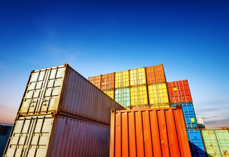 shipping boxes: Stack of Cargo Containers at the docks