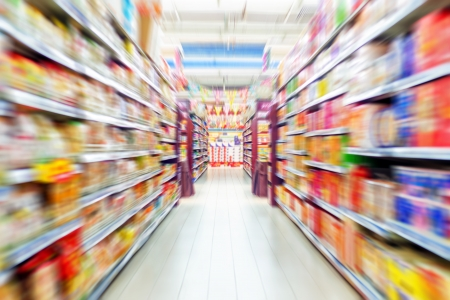 Empty supermarket aisle, Motion Blur.