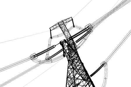 electricity pylon: Electricity pylon isolated on white