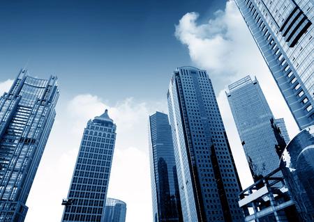 financial world: Shanghai urban landscape, landmarks, skyscrapers of Lujiazui financial center.