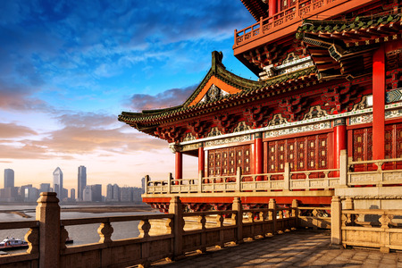 Dusk Chinese ancient buildings under the sky background (Nanchang Poetic) Stock Photo