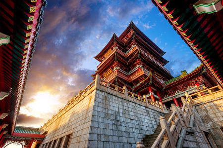 poetic: Dusk Chinese ancient buildings under the sky background (Nanchang Poetic) Stock Photo