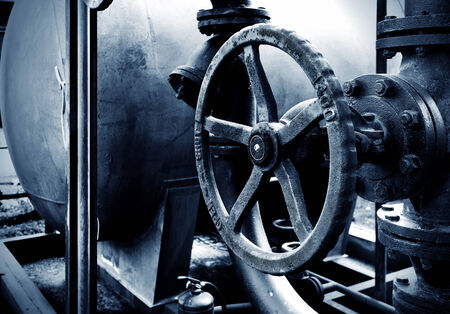 Industrial zone valves, factory equipment. photo