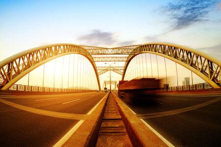 highroad: Modern bridge at dusk landscape.