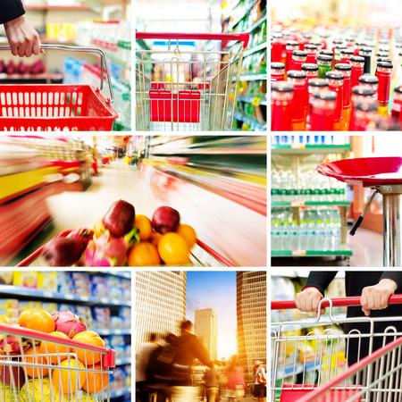 Supermarkets and urban shopping concept Photos photo