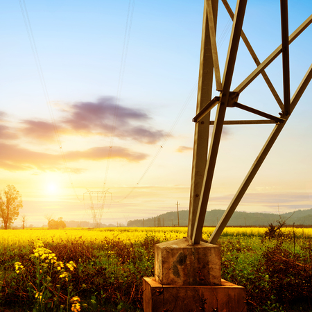 power line tower: High voltage tower, twilight Stock Photo