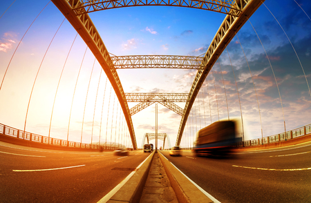 moving truck: Bridges and high-speed driving truck