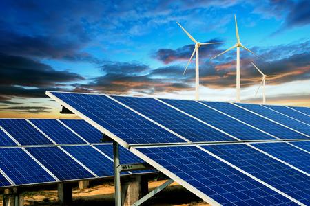 solar wind: Wind turbines and solar panels