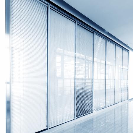 blinds: Office corridor glass sliding doors