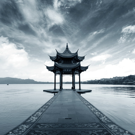 chinese pagoda: chinese ancient pavilion on the west lake in hangzhou Stock Photo