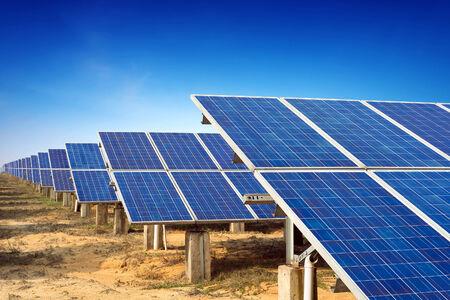 Solar panels against blue sky
