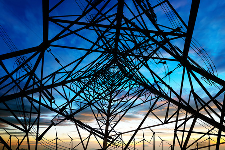 electrical tower: high voltage post.High-voltage tower sky background.