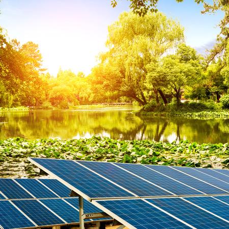 At dusk the lake and lakeside solar panels photo