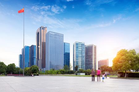 Hangzhou, Zhejiang, China, leisure and high-rise buildings of the public.