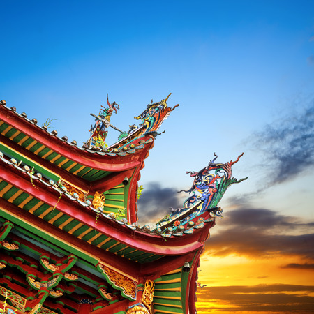 chinatown: Chinese ancient buildings of the temple roof, color sculpture: Dragon.