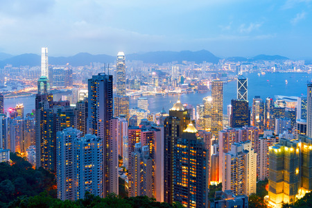 hk: Aerial view of Hong Kongs night Stock Photo