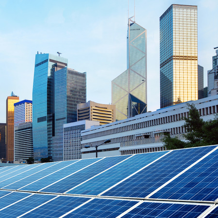 building exterior: Hong Kongs modern architecture and solar panels
