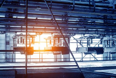 car factory: Factory floor, car production line, motion blur picture.