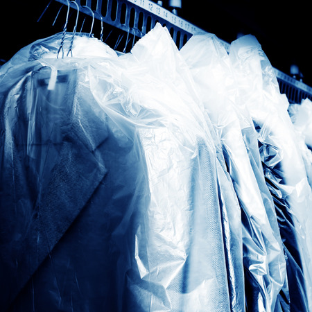 Laundry, hanging on the racks of old clothes.