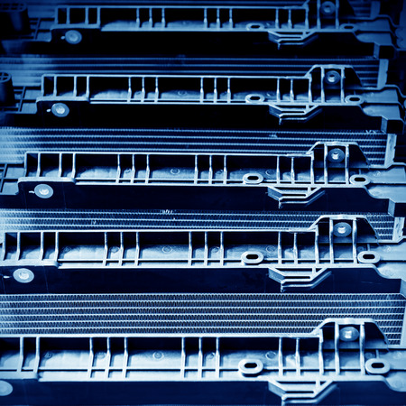 condenser: Automobile factory shelves, a new condenser. Stock Photo
