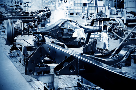 chassis: Factory floor, pickup truck production lines. Stock Photo
