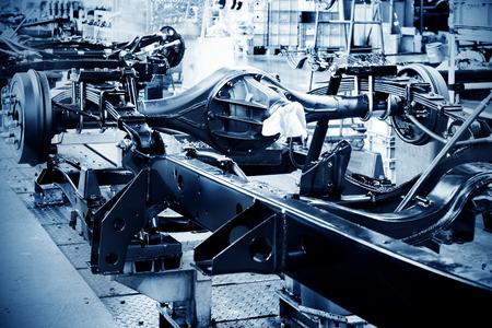 factory floor: Factory floor, pickup truck production lines. Stock Photo