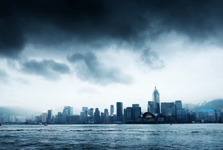 storm background: Storm in the Victoria Harbor in Hong Kong