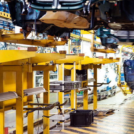 car manufacturing: Factory floor, pickup truck production lines. Stock Photo